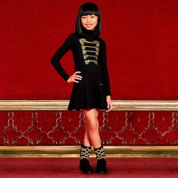 DSQUARED2 Girls Black Dress with Ornamental Gold Print & Black Suede Boots