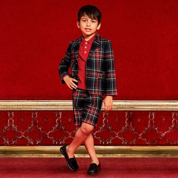 GUCCI Boys Red & Green Tartan Check Wool Shorts Suit