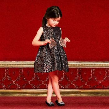 HUCKLEBONES LONDON GIrls Navy Blue & Bronze Brocade Dress with Gold Bow