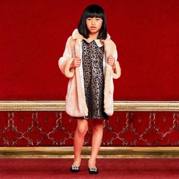 HUCKLEBONES LONDON Girls Black & Copper Shift Dress & Pink Synthetic Fur Coat