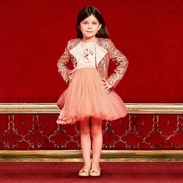 JUNONA Girls Pink Satin & Tulle Ballerina Dress & Gold Sequinned Jacket