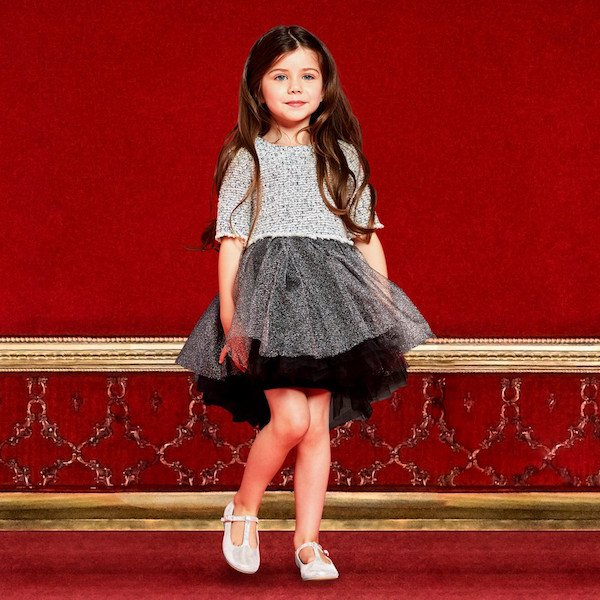 MICROBE BY MISS GRANT Younger Girls Silver Tweed & Tulle Dress