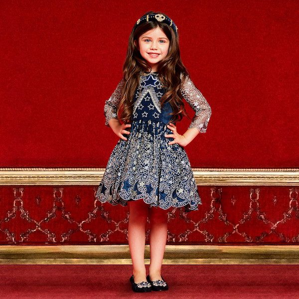 QUIS QUIS Girls Blue & Silver Star Embroidered Lace Dress