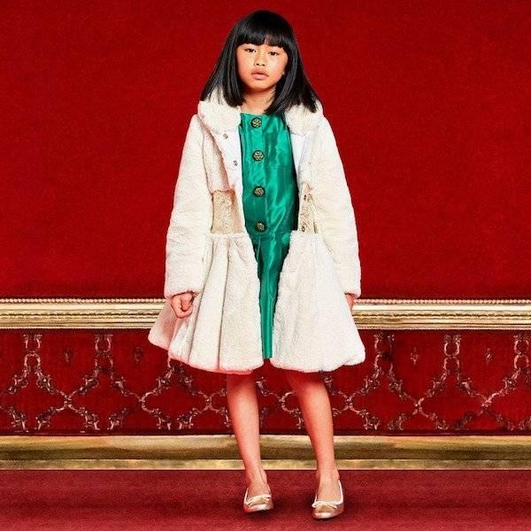 QUIS QUIS Green Silk Taffeta Dress and Ivory Fur Coat