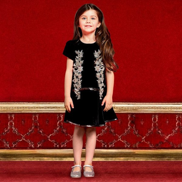 ROBERTO CAVALLI Girls Mini Mi Black Beaded Velvet Dress