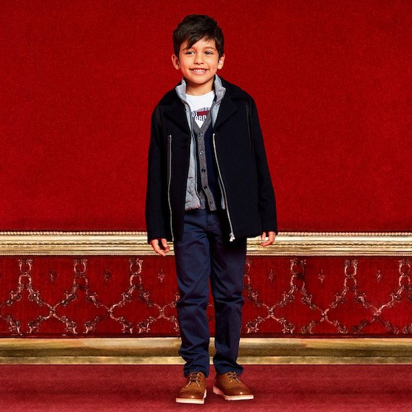 TRUSSARDI Boys Navy Blue Wool Jacket & Cardigan