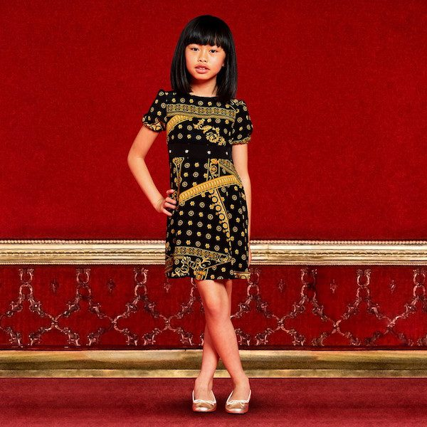 YOUNG VERSACE Girls Black & Gold 'Cornici' Printed Silk Dress