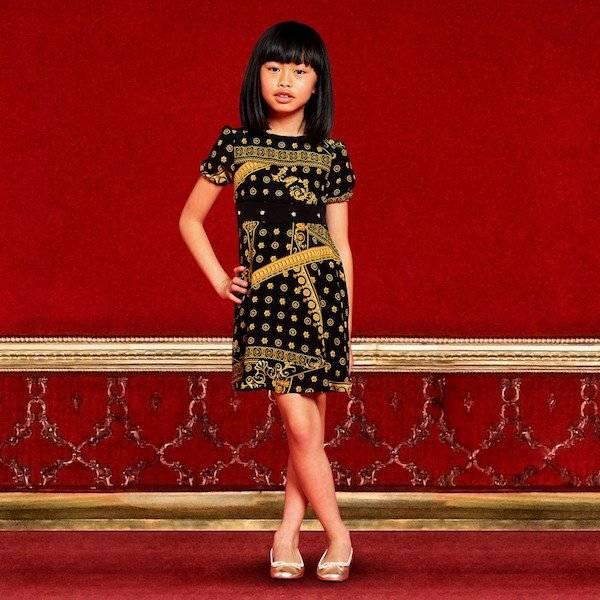 YOUNG VERSACE Girls Black & Gold 'Cornici' Printed Silk Dress