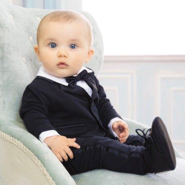 Aletta Baby Boys Blue Cotton Evening Suit Babygrow