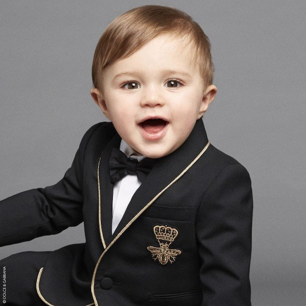 DOLCE & GABBANA Baby Boys Black Gold Bee Wool Blazer