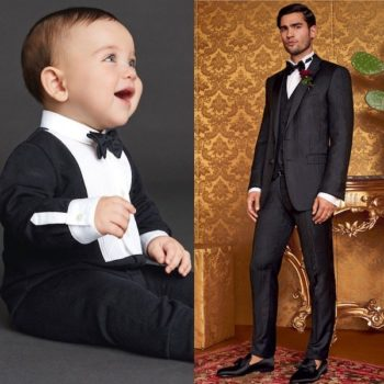 DOLCE & GABBANA Baby Boys Mni Me Black Cotton Jersey Tuxedo Babygrow