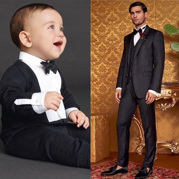 DOLCE & GABBANA Baby Boys Mini Me Black Cotton Jersey Tuxedo Babygrow