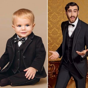 DOLCE & GABBANA Baby Boys Mini Me Black Wool 2 Piece Suit