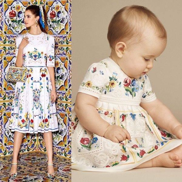 DOLCE & GABBANA Baby Girls Mini Me Ivory Silk Majolica Print & Lace Dress
