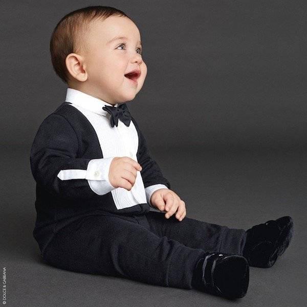 DOLCE & GABBANA Boys Black Cotton Jersey Tuxedo Babygrow