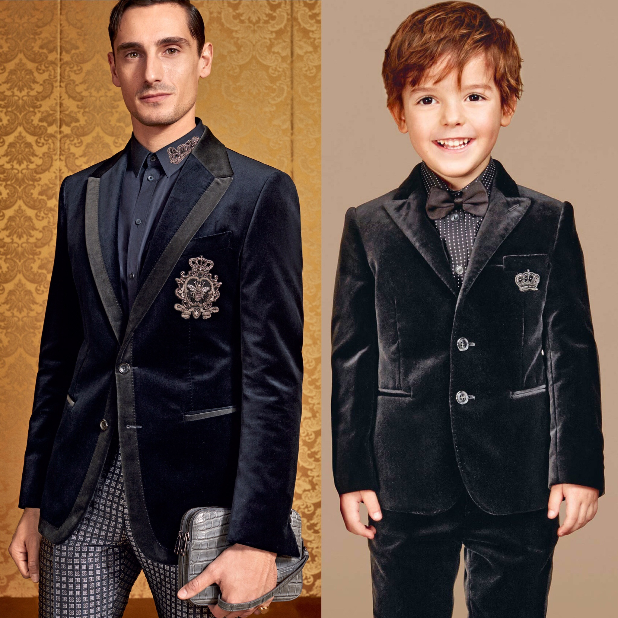 DOLCE & GABBANA Boys Luxurious Mini Me Black Crown 2 Piece Suit