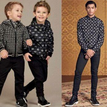 DOLCE & GABBANA Boys Mini Me Black Crown Print Padded Jacket