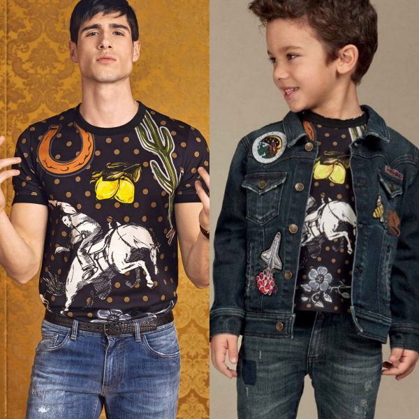 DOLCE & GABBANA Boys Mini Me Black Sicilian Western Cotton Jersey Top