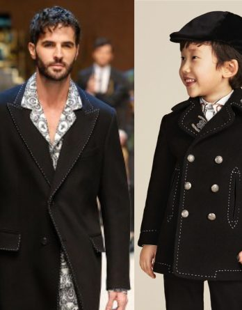 DOLCE & GABBANA Boys Mini Me Black Wool & Cashmere Reefer Coat