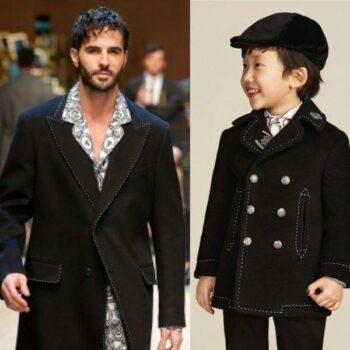 DOLCE & GABBANA Boys Mini Me Black Wool & Cashmere Reefer Coat