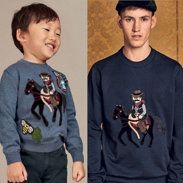 DOLCE & GABBANA Boys Mini Me Blue Wool Sicilian Western Sweater