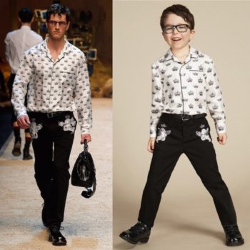 DOLCE & GABBANA Boys Mini Me Ivory 'Crown' PrintShirt & Gabardine Cherub Embroidered Trousers