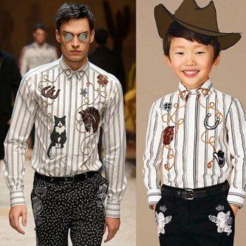 DOLCE & GABBANA Boys Mini Me Western Cowboy White & Black Stripe Shirt