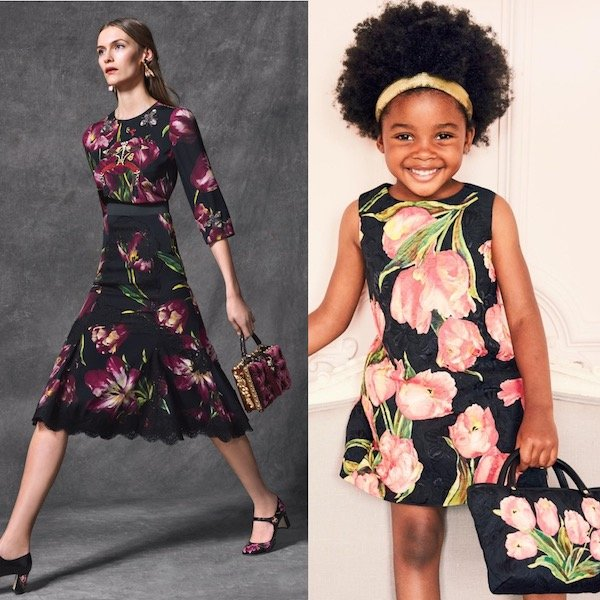 DOLCE & GABBANA Girls Mini Me Black Silk Brocade Dress with Pink Tulips