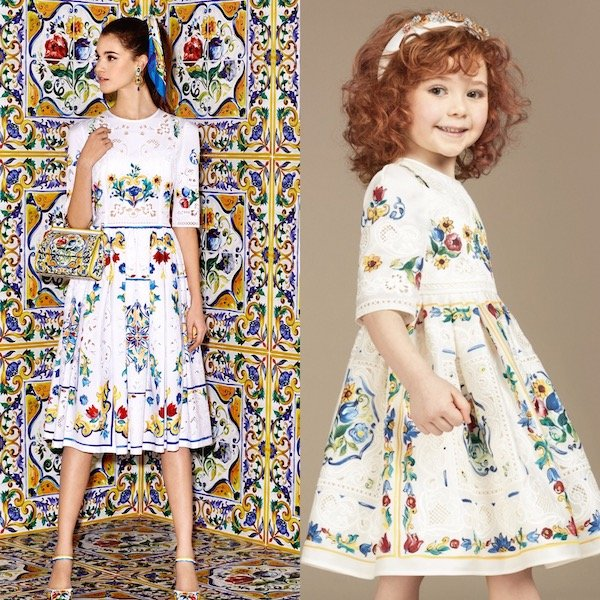 DOLCE & GABBANA Girls Mini Me Ivory Silk Majolica Print & Lace Dress