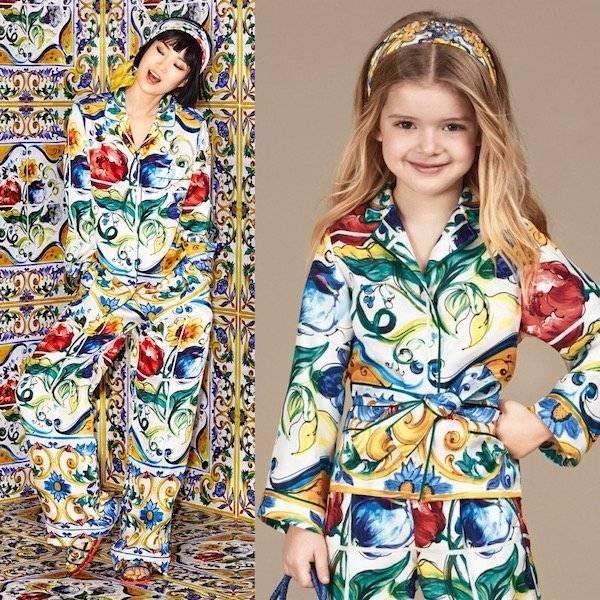DOLCE & GABBANA Girls Mini Me Silk 'Majolica' Belted Pyjama Shirt
