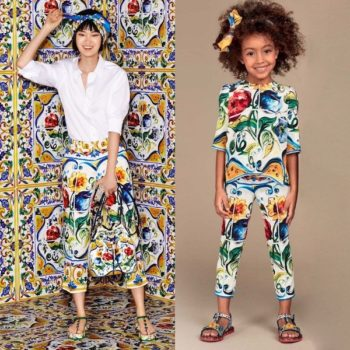 DOLCE & GABBANA Girls Mini Me Silk Majolica Print Blouse & Pants