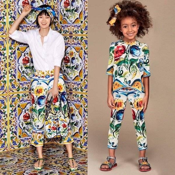 34d77a284a48 DOLCE   GABBANA Girls Mini Me Silk Majolica Print Blouse   Pants ...