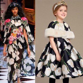 DOLCE & GABBANA Girls Mini Me White Tulip Print Silk Dress & Fur Cape