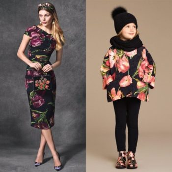 DOLCE & GABBANA Girls Pink & Black Tulip Brocade Coat