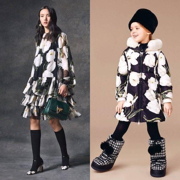 Girls Mini Me Black Fur & White Tulip Print Reversible Coat
