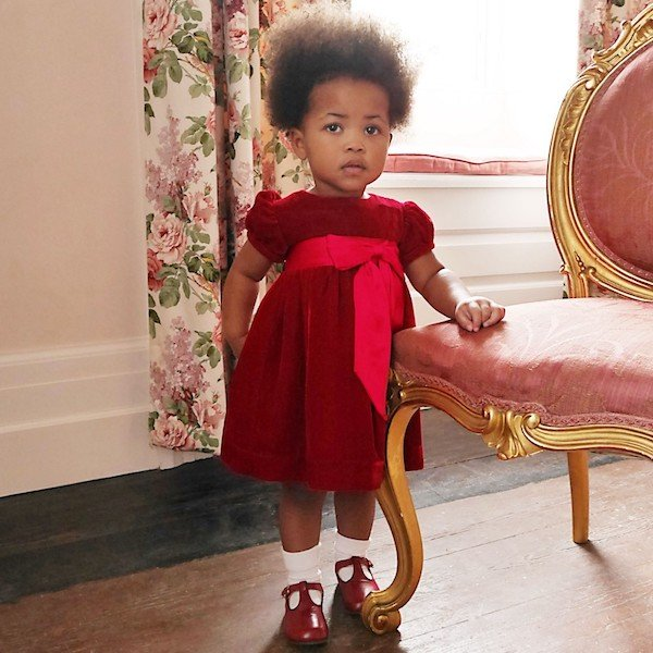 RACHEL RILEY Baby Girls Red Silk Velvet Dress with Bow