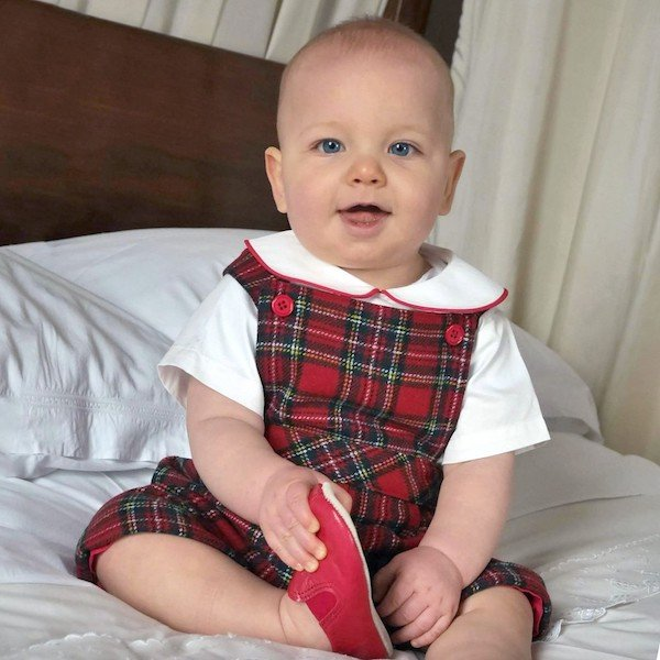 Rachel Riley Red Green Tartan Wool Baby Dungarees