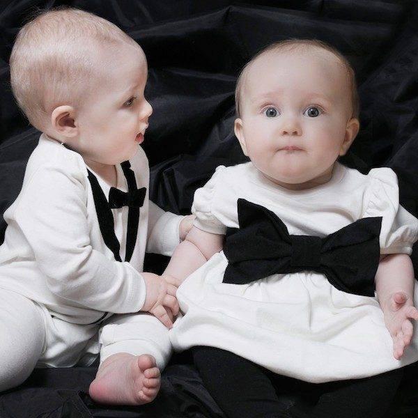 The Tiny Universe Boys Ivory Velvet Tuxedo Babygrow & Ivory The Tiny Ribbon Jersey Dress