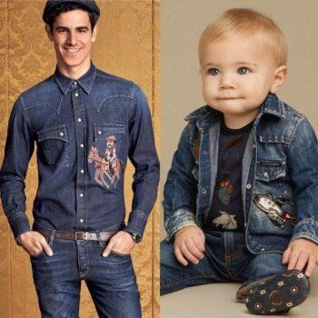 DOLCE & GABBANA Baby Boys Mini Me Blue 'Sicilian Western' Denim Shirt with Patches