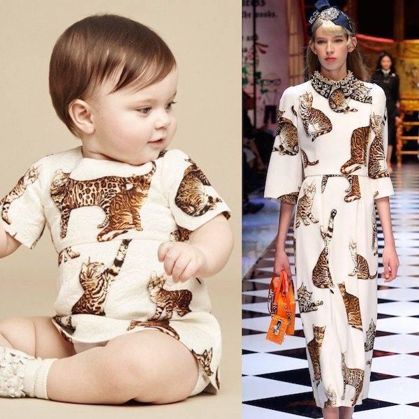 DOLCE & GABBANA Baby Girls Mini Me Brocade Cat Dress