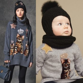 DOLCE & GABBANA Baby Girls Mini Me Grey Zambia Cat Sweater