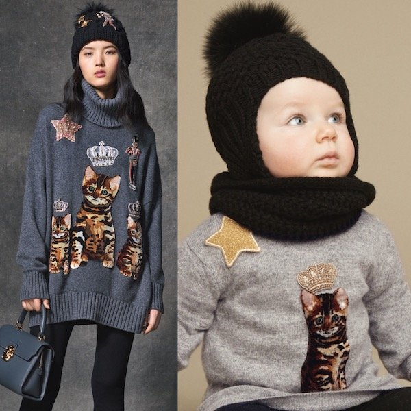 DOLCE & GABBANA Baby Girls Mini Me Grey 'Zambia' Cat Sweater
