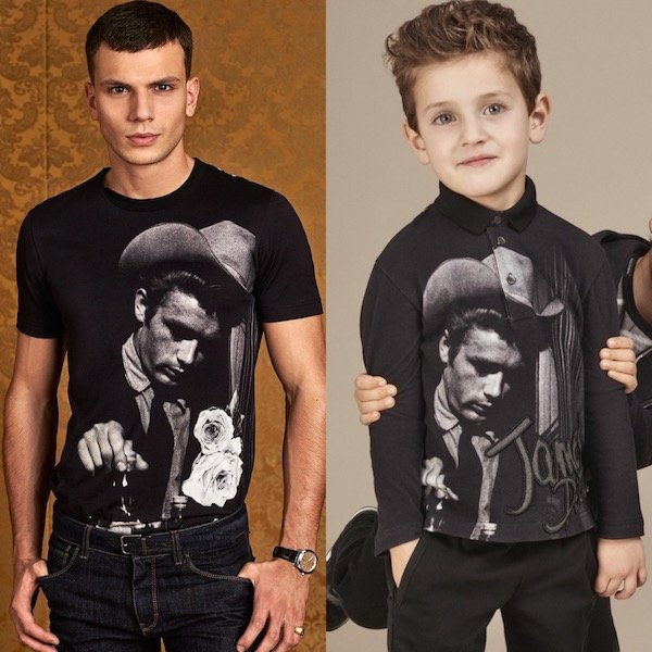 DOLCE & GABBANA Boys Daddy and Me Black & Grey 'James Dean Sicilian Western' Top