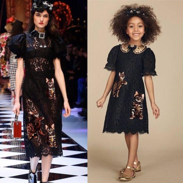 DOLCE & GABBANA Girls Mini Me Black Lace Zambia Dress