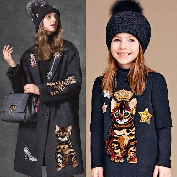 DOLCE & GABBANA Girls Mini Me Black Zambia Cat Dress
