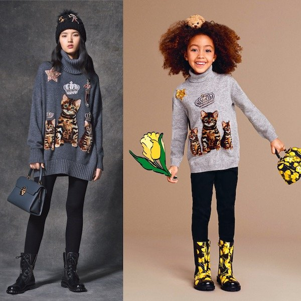 DOLCE & GABBANA Girls Mini Me Grey Cashmere Zambia Sweater
