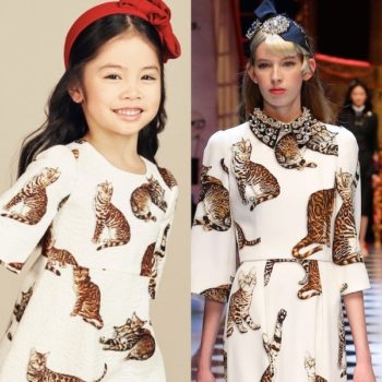 DOLCE & GABBANA Girls Mini Me Bengal Cat White Brocade Dress
