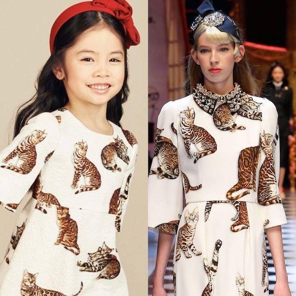 DOLCE & GABBANA Girls Mini Me Bengal Cat White Brocade Dress