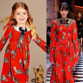 DOLCE & GABBANA Girls Mini Me Red Silk Cat Print Dress
