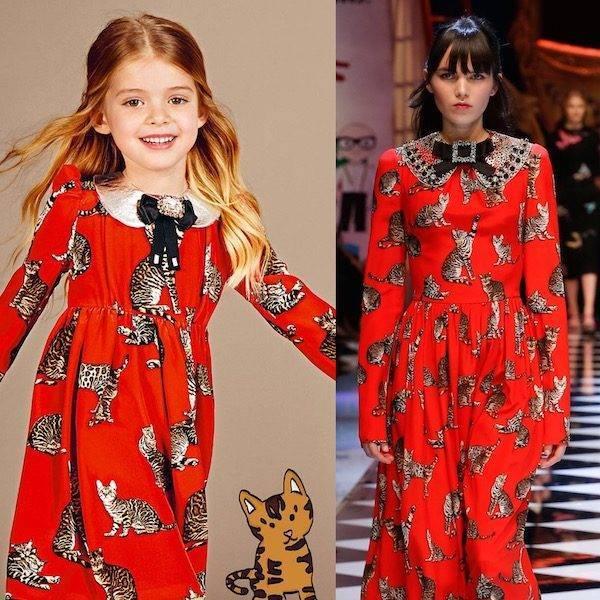DOLCE & GABBANA Girls Mini Me Red Silk Cat Print Dress